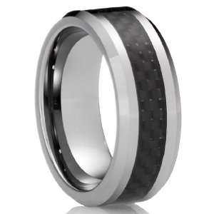 8MM Mens Tungsten Carbide Ring Wedding Band with Black Carbon Fiber