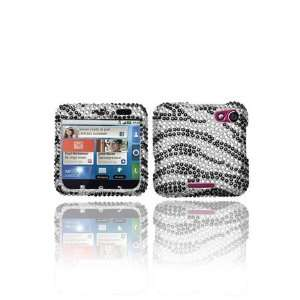 Black Zebra Skin Diamante Protector Cover for MOTOROLA MB511 (Flipout)