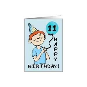 11 Year Old Boys Birthday Blue Balloon Card: Toys & Games