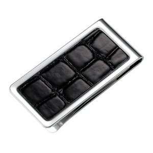 233 PVC Crocodile Skin Pattern Chrome Plated Metal Money Clip in Black
