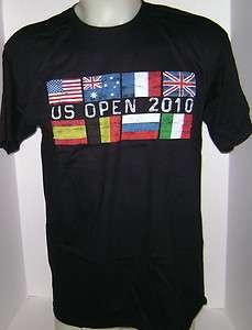 USTA Mens Tennis T  Shirt 2010 US Open Flag Design Black