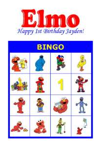 Elmo Birthday Party Game Bingo Cards