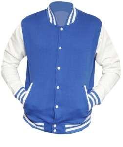 Unisex Letterman Varsity Baseball Jacket Royal Blue