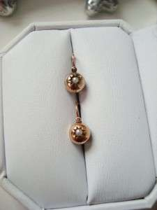 SWEETEST GEORGIAN VICTORIAN 14 KT ROSE GOLD PEARL FRONT CLOSURE