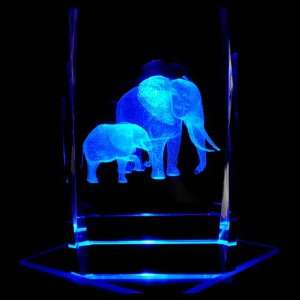 Elephants 3D Laser Etched Crystal includes Two Separate LEDs Display