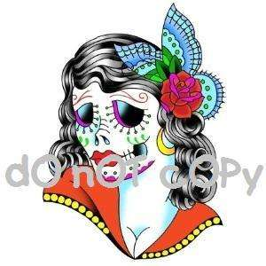 Nail Decals *Set of 20* ZOMBIE GIRL SUGAR SKULL