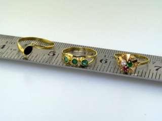 18k Gold Ring Lot Emerald Onyx Cubic Zirconium
