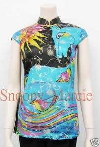 New Chinese Ladies Women Silk Horse Blouse Shirts Tops Gifts S M L XL