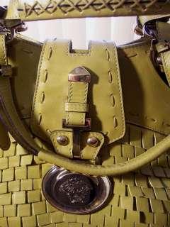 NEW VERSACE Leather Satchel Shoulder Bag Olive Green Gold Hardware