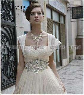 Cap sleeve Evening Dress Bridal Wedding Dress Chiffon Beads Prom Gown