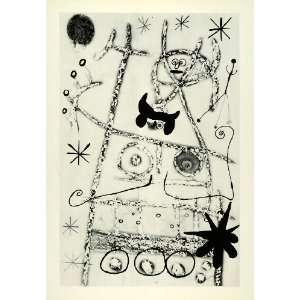 1958 Print Figurative Art Abstract Joan Miro Stars Breasts Abstraction