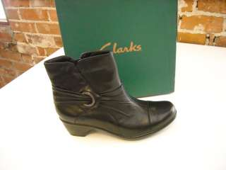CUTE Clarks BLACK Leather Rosabelle ANKLE BOOTS 10 NEW