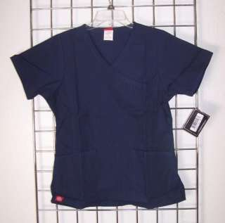 NWT Dickies SANDWASHED 11901 Mock Wrap Princess Seam SCRUB TOP XS 2XL