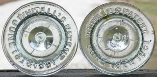 Fruit Jar Closure MILLVILLE ATMOSPHERIC Glass Lids (2)