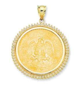 14K Gold CZ Bezel Pendant for 22K Mexican 50 Pesos Coin