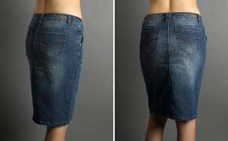 NEW Stretch Denim Straight Pencil Knee Jean Skirt HOT!!