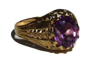 Beautiful Antique Victorian 18k Gold & Amethyst   Handmade Ring