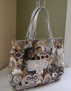 228 Coach 18342 Poppy Pop C Glam Tote Khaki