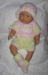 CROCHET 4 BABY/DOLL PINK AND YELLOW ORGANZA WHITE VENISE HEART