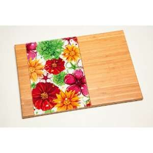 Floral Splash Wooden Cutting Board w/ Glass Inset Kitchen