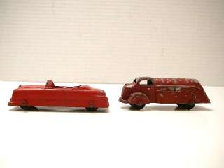 Tootsie Toy Die Cast Metal Red Gas Truck & Red Convertible Car 1930s
