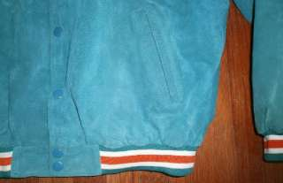 MIAMI DOLPHINS SUEDE JACKET coat leather nfl varsity mens sz L