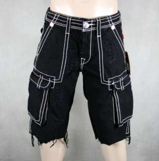 True Religion Jeans Mens Cargo Shorts BIG T w/ rips X7 Black