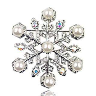 Silver Tone Austrian Crystal Winter Snowflake Pin Brooch