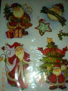Folk Santa Christmas Window Clings 12 X 17