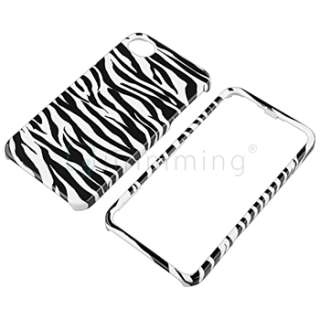 White/Black Zebra Pattern Case+LCD Film+Wall+Car Charger For iPhone 4