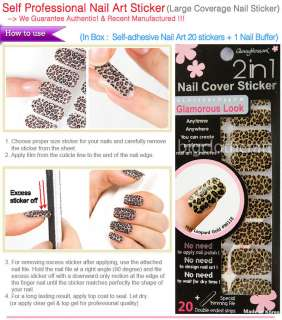 Professional 2n1 Nail Art Cover Sticker Hot Leopard Gold Color #96118