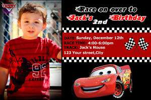 PIXAR CARS DISNEY MCQUEEN BIRTHDAY PARTY INVITATION