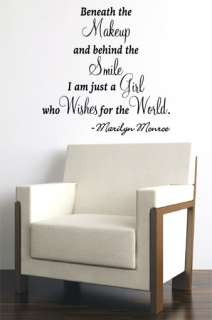 WISH FOR THE WORLD MARILYN MONROE QUOTE VINYL WALL DECAL STICKER ART