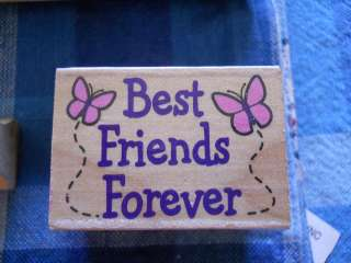 Rubber Stamp Saying Phrase Quote Verse Best Friends Forever Butterfly