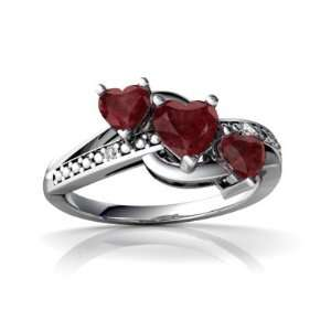14K White Gold Heart Genuine Ruby Ring Size 6 Jewelry