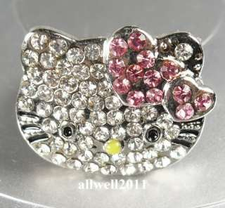 NEW Hello Kitty Crystal Bling Ring Adjustable PINK Heart In Gift Ring