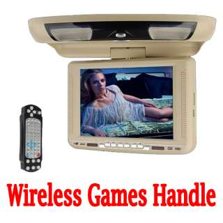 IR 10.4 LCD Car Roof Mount DVD Player Radio USB SD 32bit Games+Handle