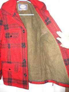 CARTERS 1950s   60s Vintage Wool Woodsman RED Plaid Hunting Coat Bird