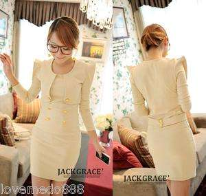 Womens Long Sleeve Puffy shoulder Buttons career casual dress Apricot