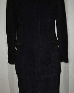 St. John Collection Black Gold Chenille Knit Long Jacket Skirt Suit