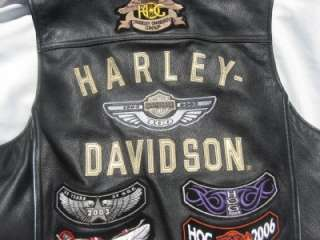 Leather HARLEY DAVIDSON 100 Year Anniversary Vest W/Patches Size L