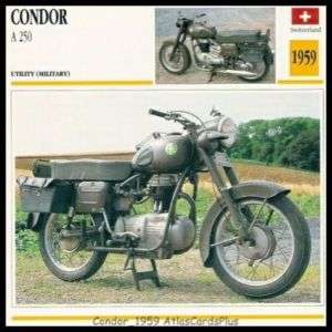 Motorcycle Card 1959 Condor A250 single cyl 4 speed 250