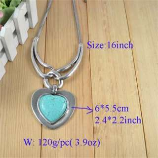 Vintage Design Silver Plated Heart Turquoise Stone Pendant Costume