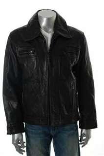 Marc New York Mens Motorcycle Jacket Black Leather Coat M