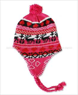 Snowflake skull Heart Design Winter Ski Trapper Beanie Hat Boy/ Girl
