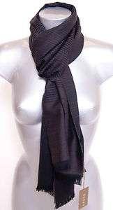 NWT $490 GUCCI Unisex Darkbrown Logo Wool Scarf Shawl Wrap
