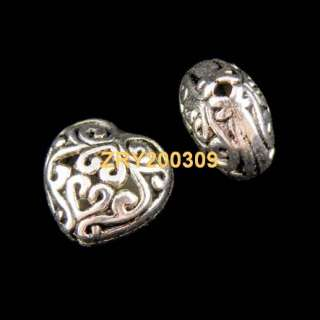 15Pcs Tibetan Silver Hollow Filigree Heart Spacer Beads 8x13mm KA5041