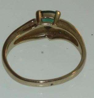 14k yellow gold green stone diamond ring 6 1/2 estate