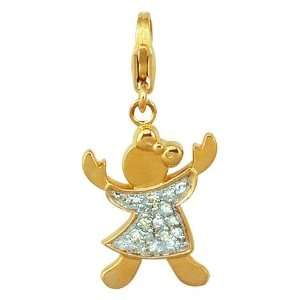 14K Yellow Gold Diamond Girl Charm: Jewelry