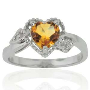 14k White Gold Heart Citrine and Diamond Ring (.02 cttw, I J Color, I1
